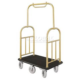 Glaro Ball Top Bellman Cart 48x25 Satin Brass Black Carpet, 6 Pneumatic Wheels