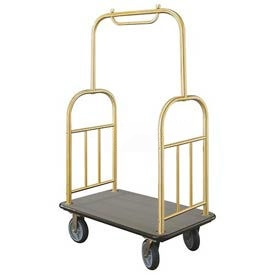 Glaro Ball Top Bellman Cart 40x25 Satin Brass Gray Carpet, 4 Rubber Wheels
