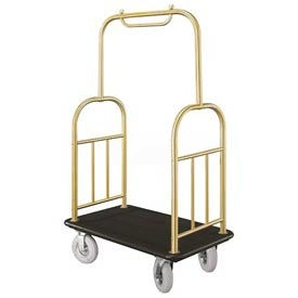 Glaro Ball Top Bellman Cart 40x25 Satin Brass Black Carpet, 4 Pneumatic Wheels