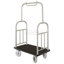 Glaro Ball Top Bellman Cart 48x25 Satin Aluminum Black Carpet, 4 Pneumatic Wheels