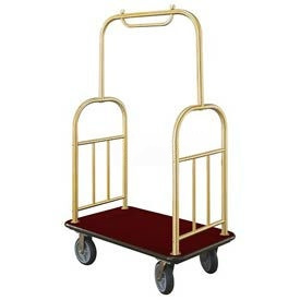 Glaro Ball Top Bellman Cart 48x25 Satin Brass Burgundy Carpet, 4 Rubber Wheels