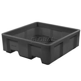 "Dandux Black Recycled Plastic Skid Container 512165X Single Wall  - 36""L x 20""W x17-1/2""H"