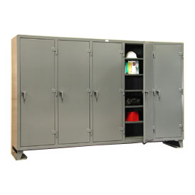 Strong Hold® Multi-Shift Personal Locker 106-MS-2425 - Single Tier 122x24x78 5 Door Gray