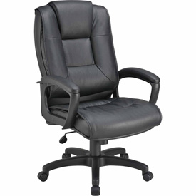 Executive Office Chair with Arms  - Leather - High Back - Black