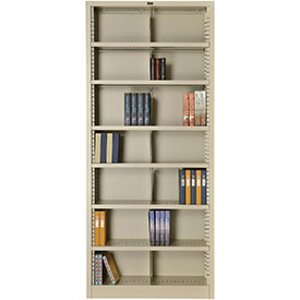 "All Steel Bookcase 36"" W x 12"" D x 84"" H Putty 7 Openings"