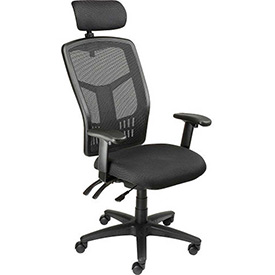 Multifunction Mesh Office Chair with Arms and Headrest - Fabric - Black