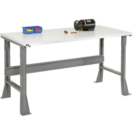 "60""W X 30""D X 34""H ESD Square Edge Workbench - Gray"