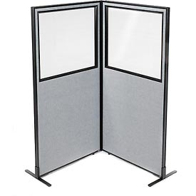 Freestanding 2 panel corner room divider with partial window 36 1 4 w x 72 h panels gray - Partial room divider ...