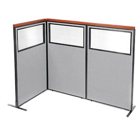Deluxe freestanding 3 panel corner divider with partial window 36 1 4 w x 61 1 2 h gray - Partial room divider ...