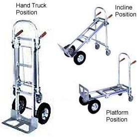 Wesco® Cobra 3-in-1 Convertible Aluminum Hand Truck 220594 Semi-Pneumatic Wheels