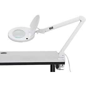 8 Diopter LED Magnifying Lamp With Covered Metal Arm, White