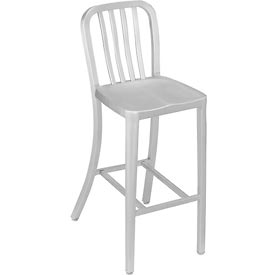 Aluminum Bar Stool - 4 Slat Back - Silver