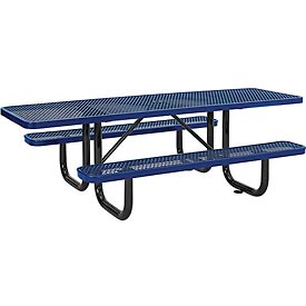 "96"" ADA Expanded Metal Picnic Table, Blue"