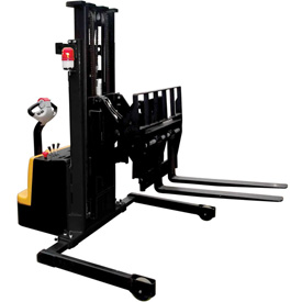 "Vestil Fully Powered 25"" Reach Stacker S-118-AA-FR 1500 Lb 118""H Adj Forks Inside Adj Straddle Legs"