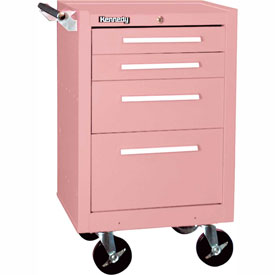Kennedy® 21040RS 4 Drawer Roller Cabinet W/Tubular High-Security Lock Pink