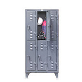 Strong Hold® Heavy Duty Slim-Line Locker 16-18-2TSL - Double Tier 14x18x78 2 Door