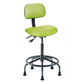 "BioFit Operator Chair - Multifunctional Control- Height 25 - 32"" - Black Vinyl - Black Powder Coat"