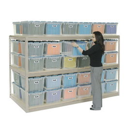 "Record Storage Rack Tan 96""W  x  24""D  x  60""H With Polyethylene File Boxes"