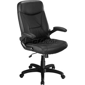 Interion® Executive Leather Chair With Fold-Away Arms