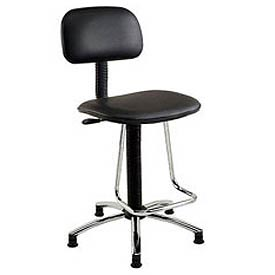 Interion® Vinyl Production Stool With U-Shaped Footrest