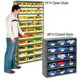 "6 Shelf Closed Steel Shelving With 21 Akro Bins 36""X12""X39"""