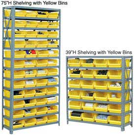 "Steel Shelving With 36 4""H Plastic Shelf Bins Yellow, 36x18x75-13 Shelves"