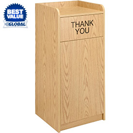 Global™ Wooden Tray Top Waste Receptacle