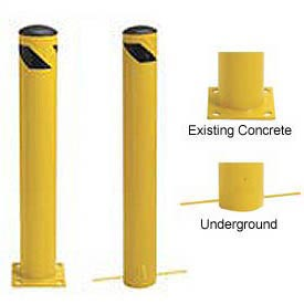 Steel Bollard With Removable Rubber Cap and Chain Slots