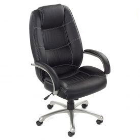 Interion™ - Saddle Stitched High Back Leather Office Chair