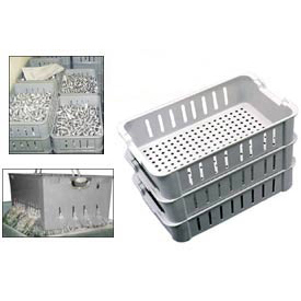 "Molded Fiberglass Toteline Stacking Wash Box 802048 -16-1/2""L x 11-3/8""W x 4-5/8""H, Gray"
