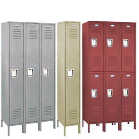 Penco 68333R028-KD Recessed Handle Triple Tier Locker 12x12x24 Unassembled 3 Wide Gray