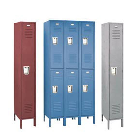 Penco 68333R073-SU Recessed Handle Triple Tier Locker 12x12x24 Assembled 3 Wide Champagne