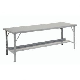 "84"" W  x 34"" D Heavy-Duty Extra Long Folding Assembly Workbench - Gray"