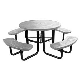 "46"" Round Picnic Table Gray Perforated Metal Surface Mount Style"