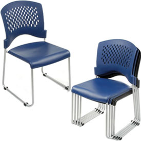 Interion® Ventilated Plastic Stackable Chair