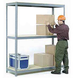 8'H Boltless Wide Span Metal Storage Rack With Wood Deck