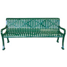 "72"" Roll Formed Diamond Bench with Back and Armrests - Green"