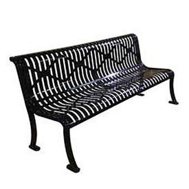 "72"" Roll Formed Diamond Bench with Back No Armrests - Gray"
