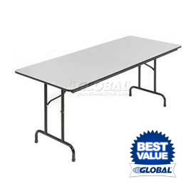 Interion® 6' Folding Table with Gray Melamine Top