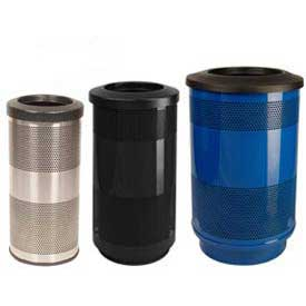 Stadium Series® Perforated Steel Trash Receptacles