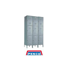Penco 6321V-3-028SU Vanguard Locker Pull Handle Triple Tier Locker 12x15x24 Assembled 3 Wide Gray