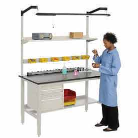 Heavy Duty Height Adjustable Lab Bench - Tan
