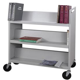 Buddy Products Double-Sided Steel Slant Shelf Book Storage Cart