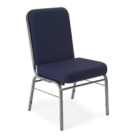 OFM Comfort Class Series Stack Chair with Silver Vein Frame, Fabric, Navy