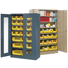 "Locking Storage Cabinet 36""W X 18""D X 48""H With 12 Yellow Stacking Bins and 2 Shelves Unassembled"