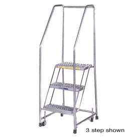 Stainless Steel Rolling Ladders Spring Loaded Casters