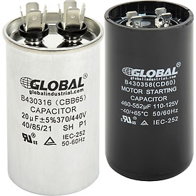 Dual and Single Voltage 330, 370/440 Volt Round/Oval Run Capacitors