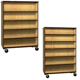 Ironwood Mobile Wood Double Faced Bookcase Cabinets