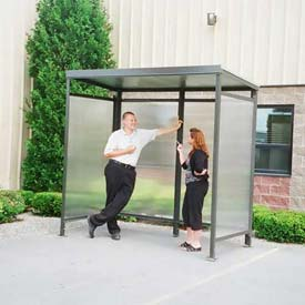 Heavy Duty Bus Smoking Shelter Steel Flat Roof 4'x8'x75