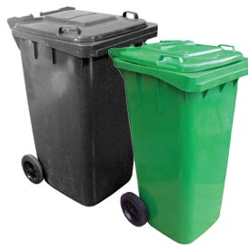 Mobile Trash Cans With Hinged Lid